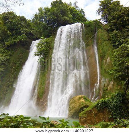 Expolring beautiful waterfall in inland west java indonesia