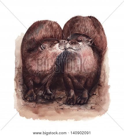 Cute kissing otters, hand painted with watercolours.