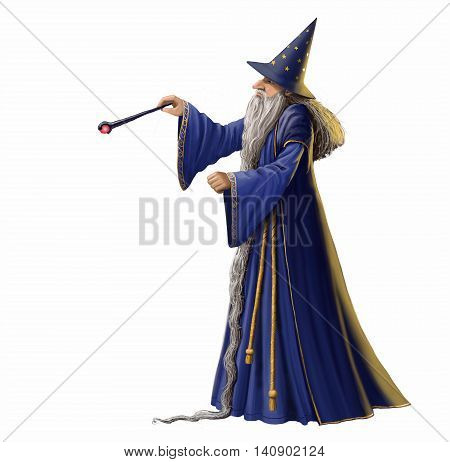 Wizard and magic wand isolated on a white background.