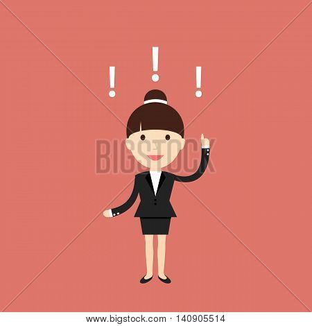 Business situation. Businesswoman found a solution to the issue. Vector illustration.
