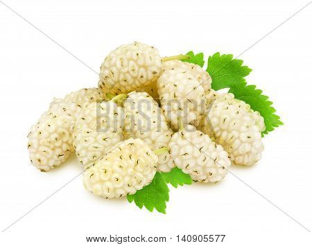 Heap of fresh ripe white mulberry berries with leaves isolated on white background. Design element for product label, catalog print, web use.