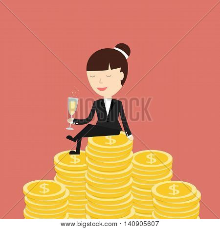 Business situation. Businesswoman sitting on the money and drinking champagne. Symbol of wealth and big profits. Vector illustration.