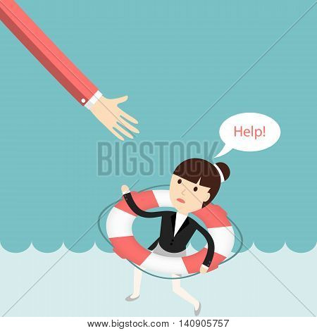 Business situation. Businesswoman sinking and asks for help. The concept of failure in business. Vector illustration.