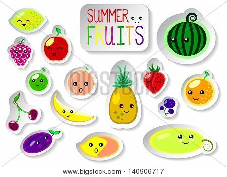 Set of summer fruits in flat style. Cute kawaii faces of fresh ripe fruits. Garden harvest. Eyes and smiles on fruit icons, surprised, giggling, funny emotions. Food or dessert package design or logo