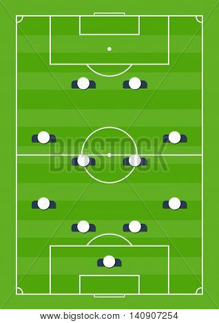 Vector stock of soccer playing field with team playing strategy