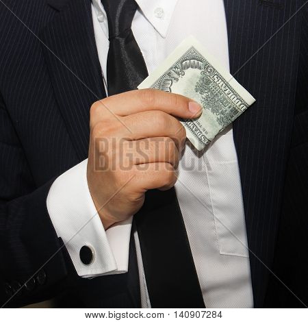 Business men holding money 100 american dollars