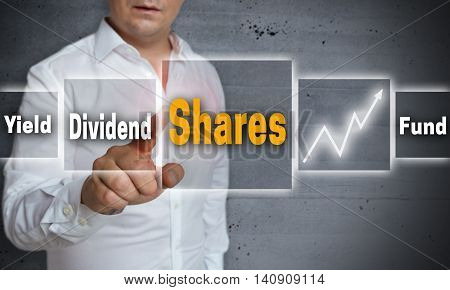 Shares dividend yield fund touchscreen concept background