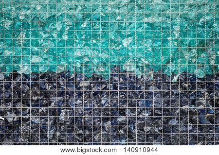 Pattern Of Color Stone Wall With Metal Grid