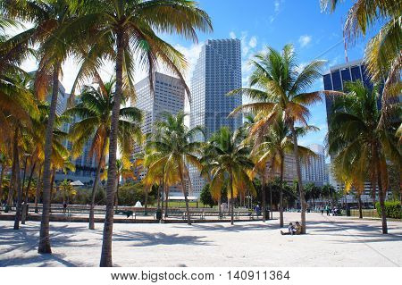 MIAMI, UNITED STATES - FEBRUARY 12: People walk and relax in the Bayfront park of Miami Downtown on 12th of February, 2016 in Miami.