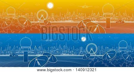 Radars in the woods, communication and technology illustration, weather station, night skyline, neon city, urban scene, vector design art