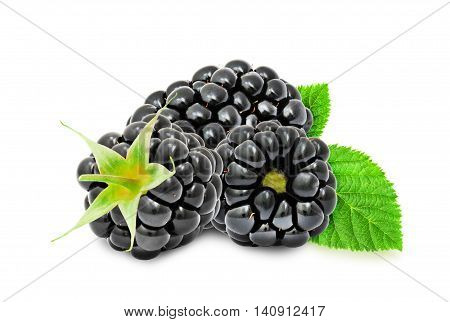 Heap of fresh ripe blackberry berries with leaves isolated on white background. Design element for product label, catalog print, web use.