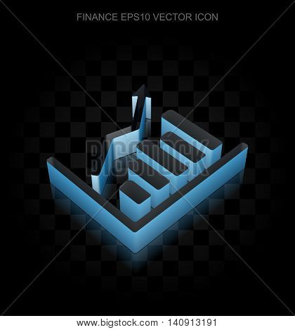 Finance icon: Blue 3d Growth Graph made of paper tape on black background, transparent shadow, EPS 10 vector illustration.