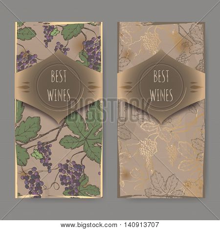 Set of two wine label templates with color grapevine pattern on vintage background. Great for wineries, grocery stores, wine label design.
