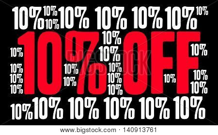 Ten Percent Off on a black background.