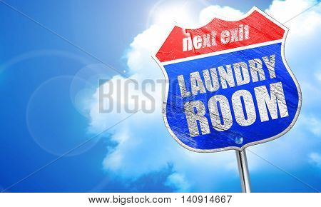 laundry room, 3D rendering, blue street sign