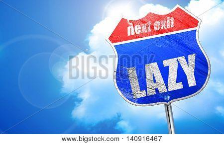 lazy, 3D rendering, blue street sign