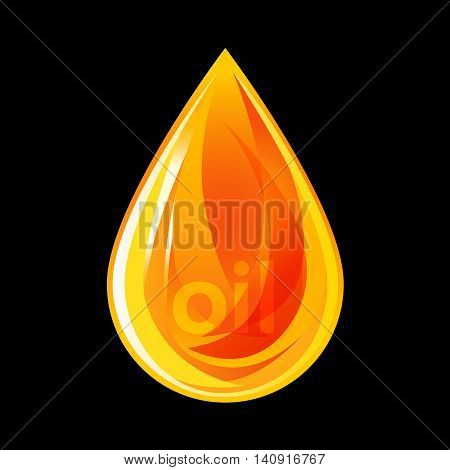 Fiery drop of oil. Sign for oil business.