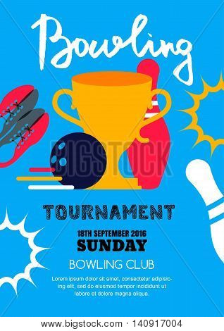 Vector Bowling Tournament Banner, Poster, Flyer Design Template.