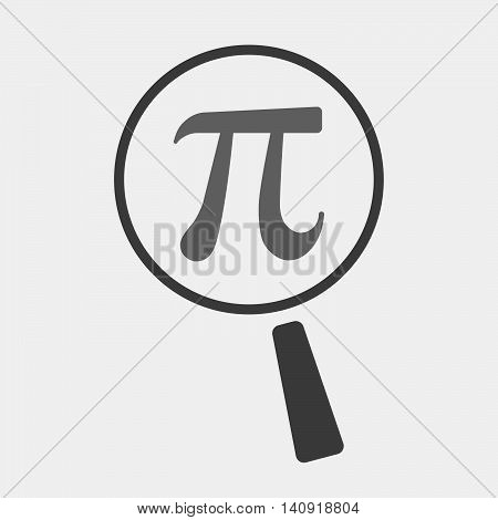 Isolated Magnifier Icon With The Number Pi Symbol