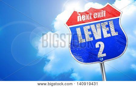 level 2, 3D rendering, blue street sign