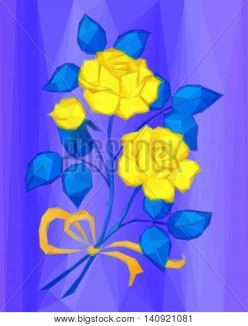 Holiday Background, Yellow Flowers Bouquet with Blue Leaves and Orange Bow, Love Symbol, Low Poly Illustration. Vector