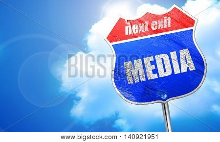 media, 3D rendering, blue street sign