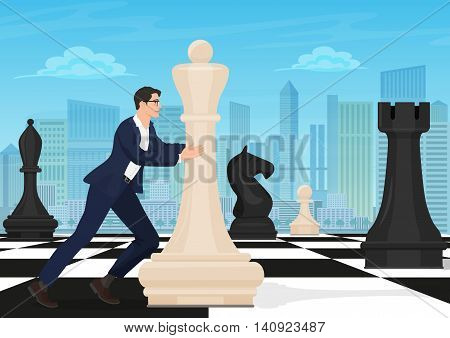 Businessman on the chess board. Man chess player moving figure on chessboard with the modern city background. Business strategy concept