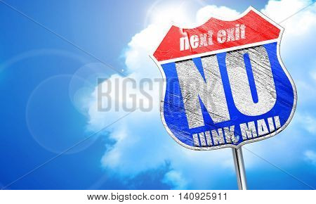 no junk mail, 3D rendering, blue street sign