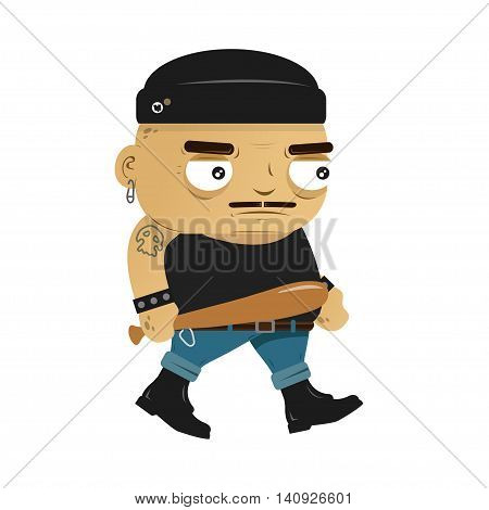 Angry hooligan punk with Baseball bat illustration