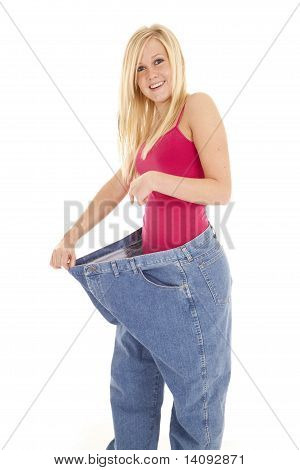 Woman Big Pants Out Happy