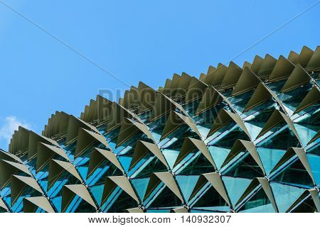 SINGAPORE-JUL 10, 2016: Roof detail of Esplanade Theatres on the Bay in Singapore on July 10, 2016. Esplanade Theatres on the Bay is an international and local center for performance arts.