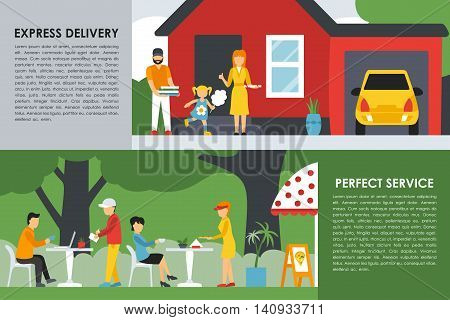 Express Delivery and Perfect Service flat concept web vector illustration. Pizzeria Bistro interior presentation.