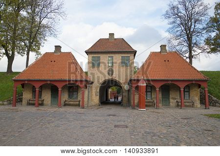 The old building of the guardhouse in the fortress Kastellet, november day. Copenhagen, Denmark