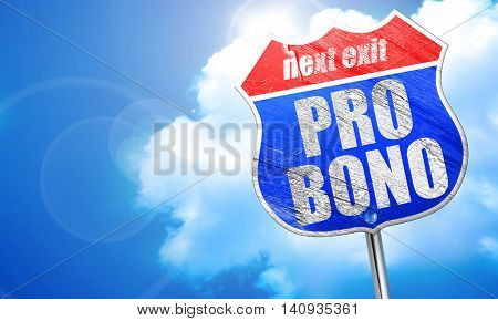 pro bono, 3D rendering, blue street sign
