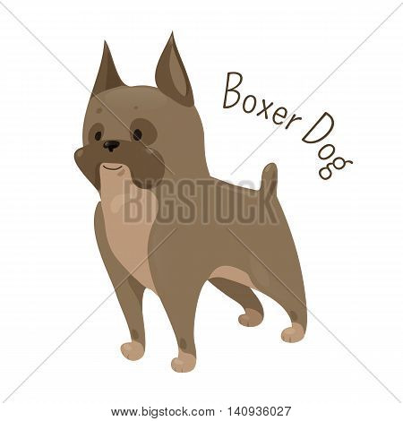 Boxer dog isolated on white background. Coat is smooth and tight-fitting. Medium-sized, short-haired breed. Domesticated canid. Part of series of cartoon puppy species. Child fun pattern icon. Vector