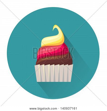 Cartoon dessert cake icon isolated on white background. Vector illustration for sweet food design. Biscuit cookie symbol. Delicious logo sign. Yellow pink cute color. One bright portion