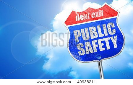 public safety, 3D rendering, blue street sign