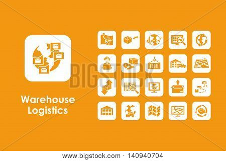 It is a set of warehouse logistics simple web icons