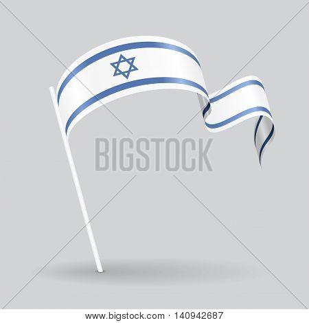 Israeli pin icon wavy flag. Vector illustration.