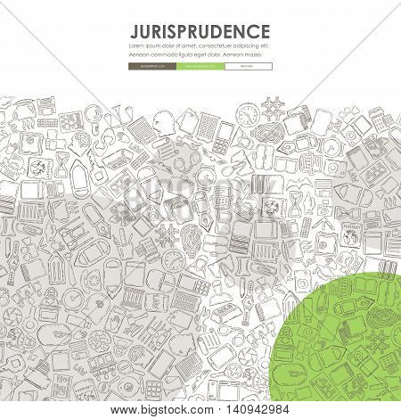 jurisprudence Website Template Design with Doodle Background