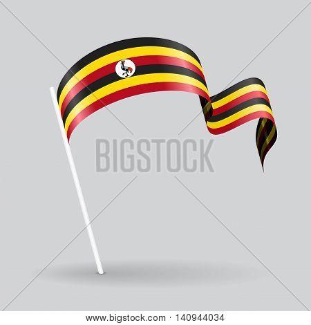 Ugandan pin icon wavy flag. Vector illustration.