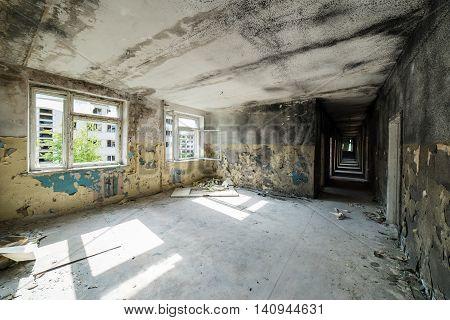 Interior Of An Old Abandoned Soviet Hospital