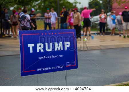 Mechanicsburg PA - August 1 2016: Supporters of Presidential candidate Donald J. Trump stand in a line awaiting entrance to a political rally. Pennsylvania.