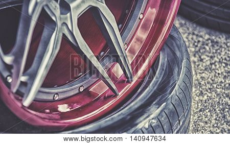 Closeup Detail Of Aluminum Car Wheel, Hdr Effect
