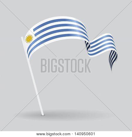 Uruguayan pin icon wavy flag. Vector illustration.