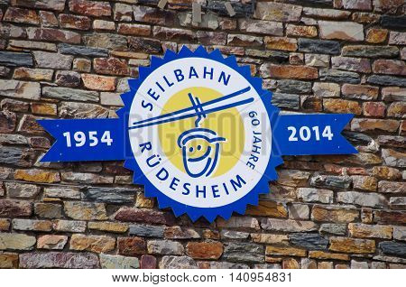 Ruedesheim am Rhein, Germany - July 31 2016: Cable car to the Niederwald monument from Ruedesheim am Rhine