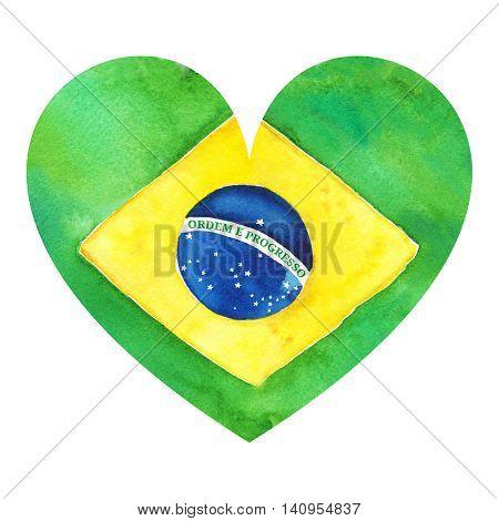 Watercolor Brazil Brazilian national flag. Ordem e progresso. Order and progress.