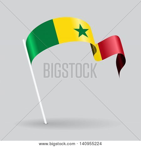 Senegalese pin icon wavy flag. Vector illustration.