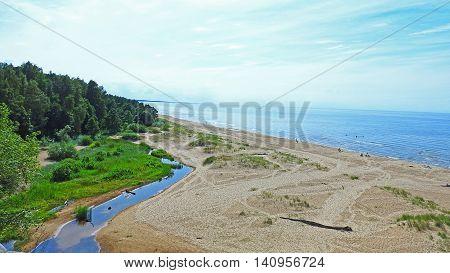 Baltic sea on summer. Nice city Saulkrasti