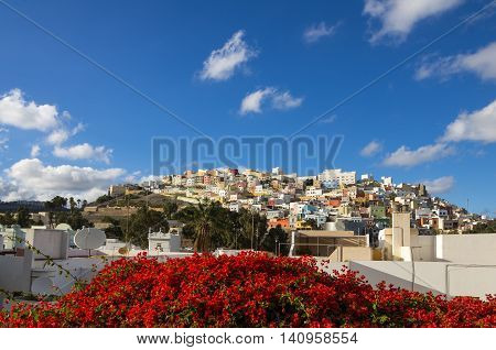 Colorful residential houses in old uptown of Las Palmas de Gran Canaria the capital city of Canary Islands Spain